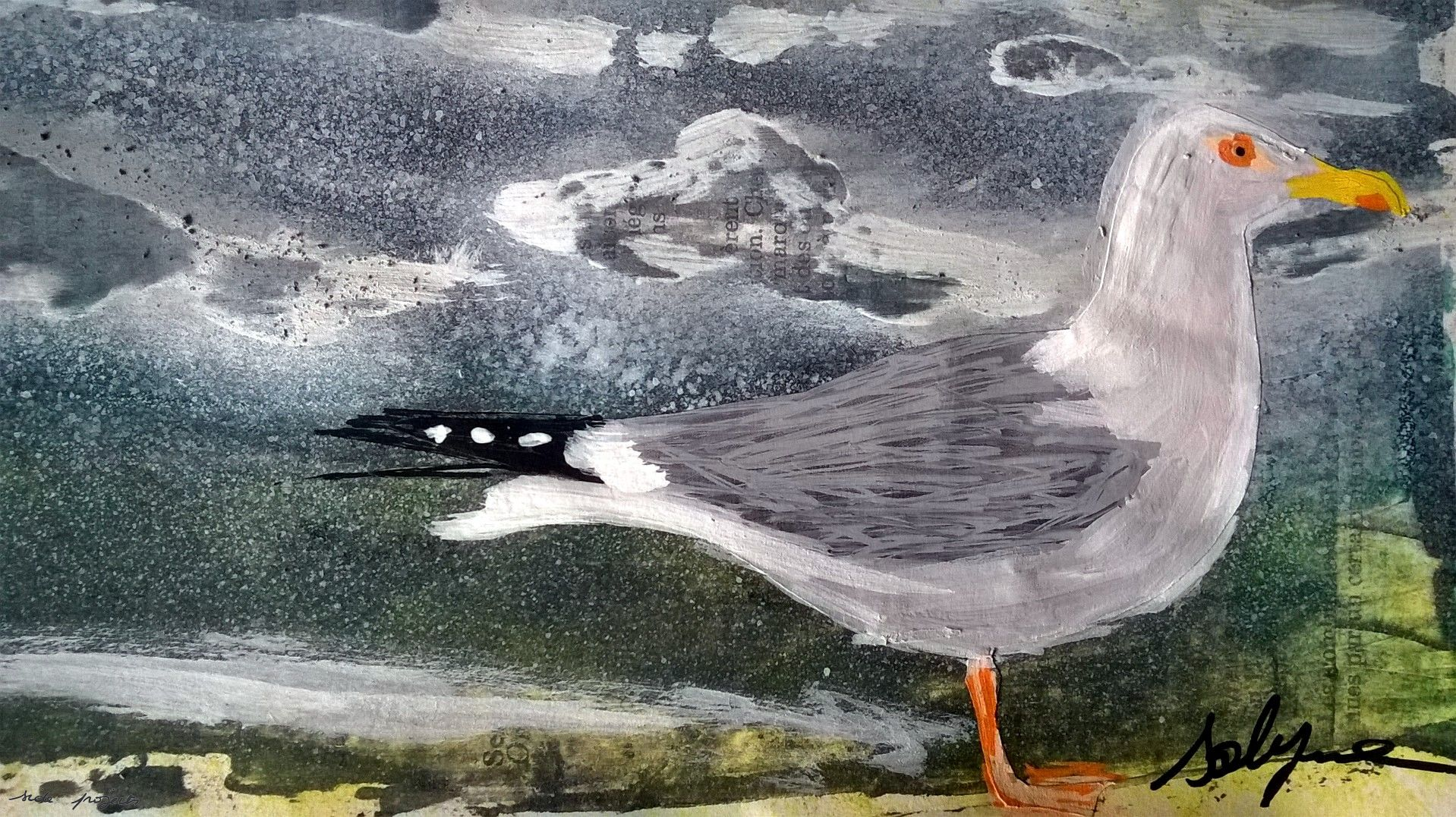 Mixed Media – 100 Artworks – #32 Goéland – 05