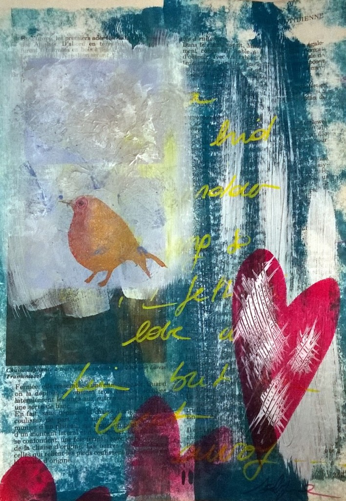 Mixed Media - 100 Artworks - #42 I felt in Love with a Bird but