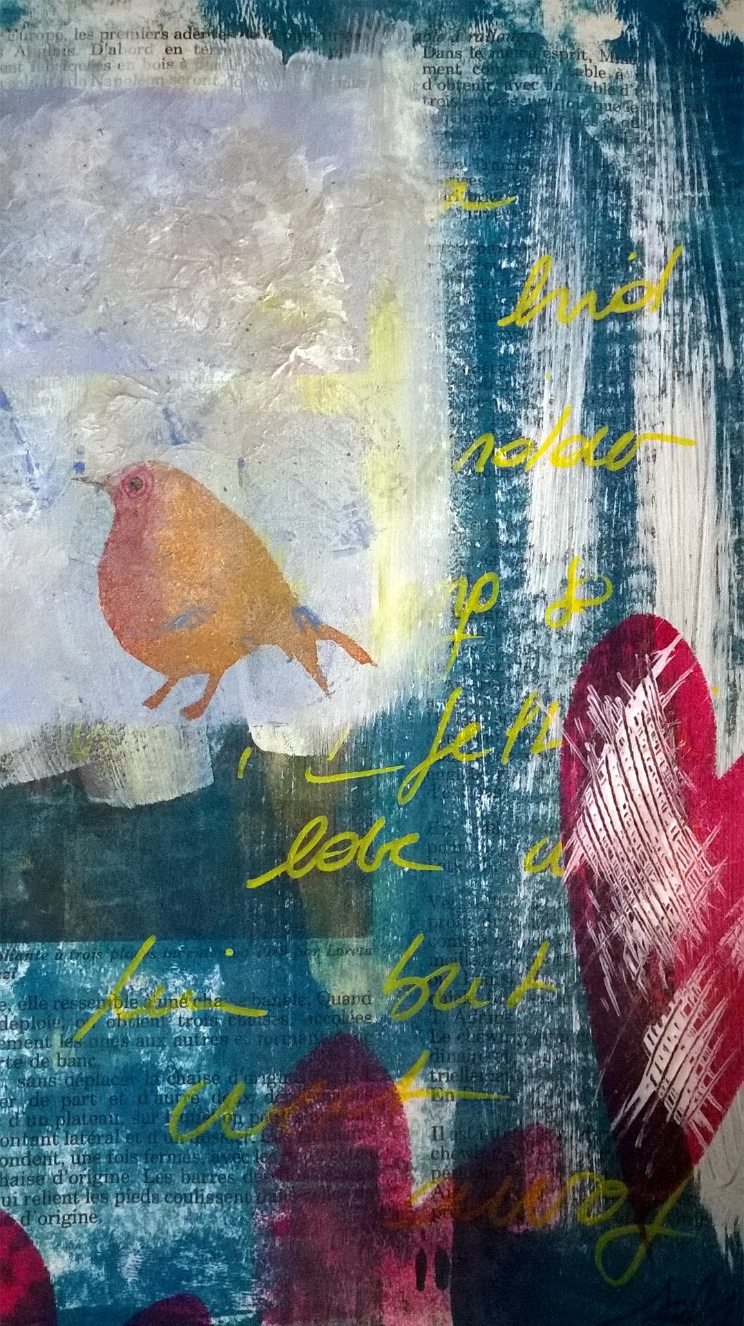 Mixed Media - 100 Artworks - 42Mixed Media - 100 Artworks - #42 I felt in Love with a Bird but