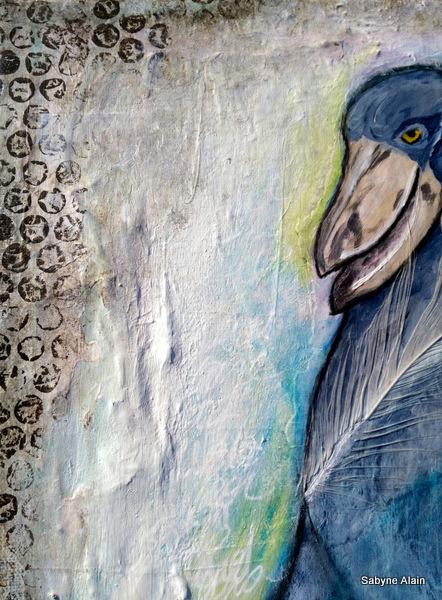 Mixed Media – Portrait d'oiseau – Bec en Sabot – Shoebill 08
