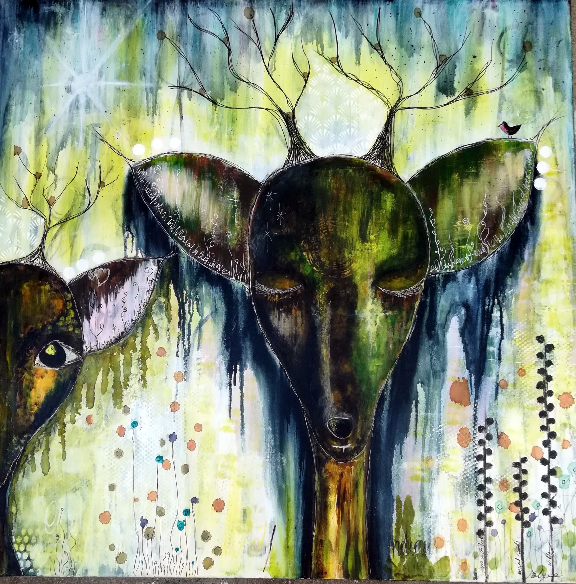 Mixed Media – Deers are Wise Guardians 01