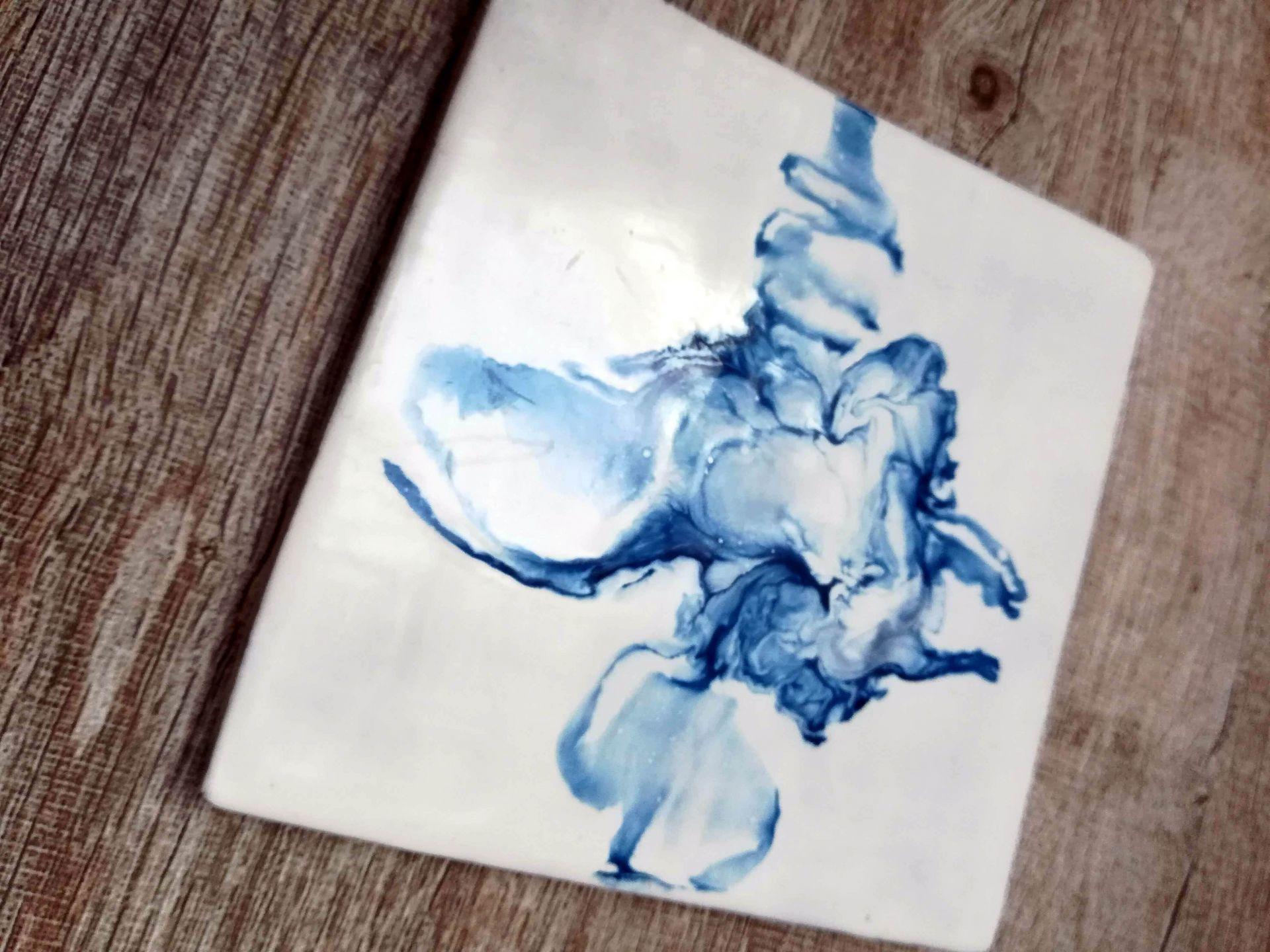 abstrait encaustique bleu