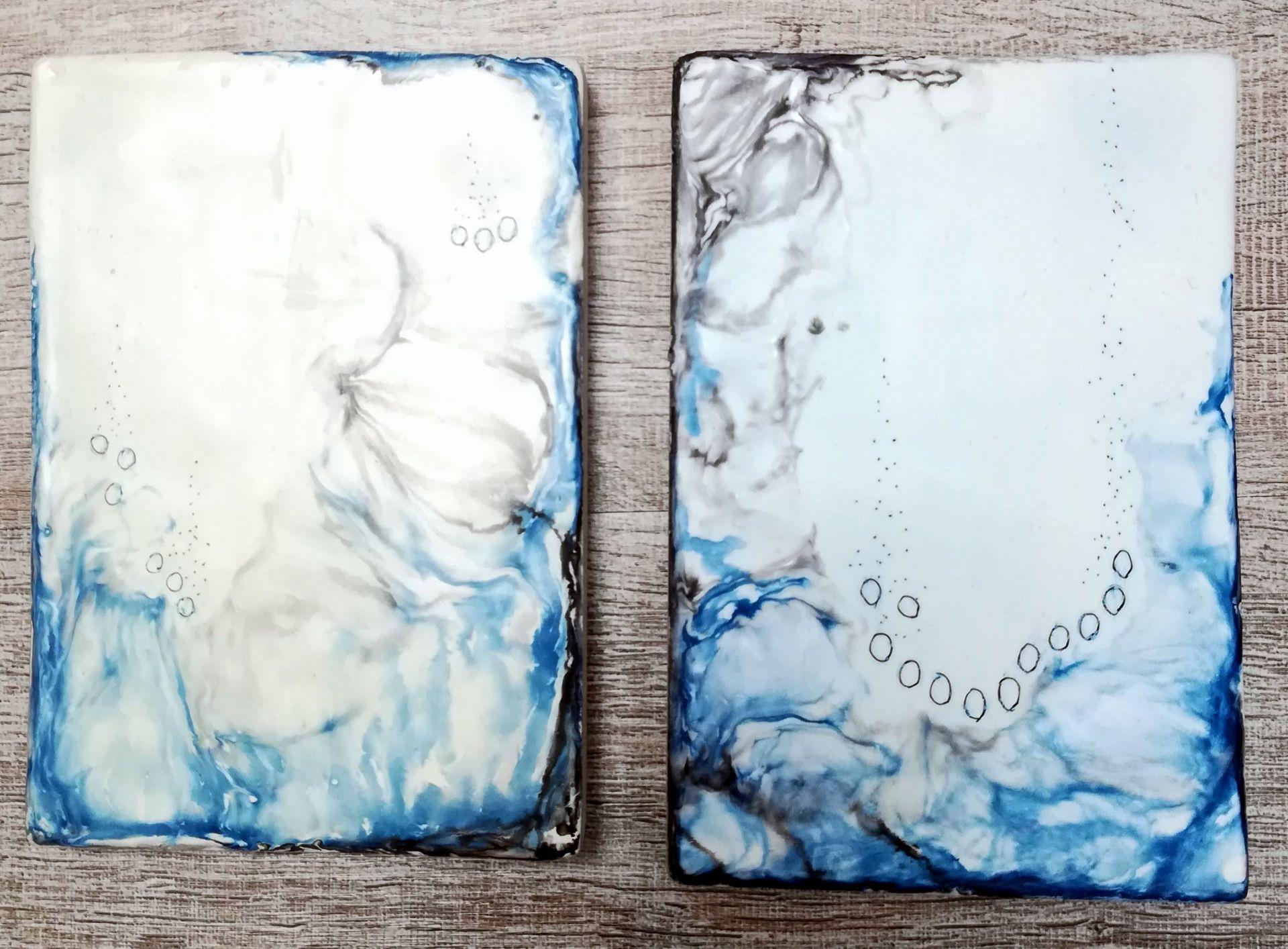 encaustique rectangle bleu