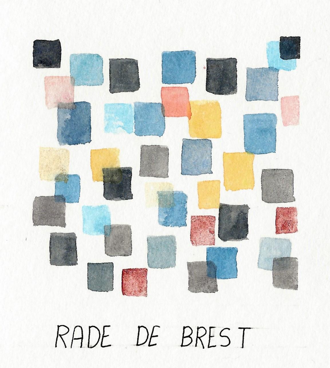 aquarelle abstraite, rade de brest, bretagne