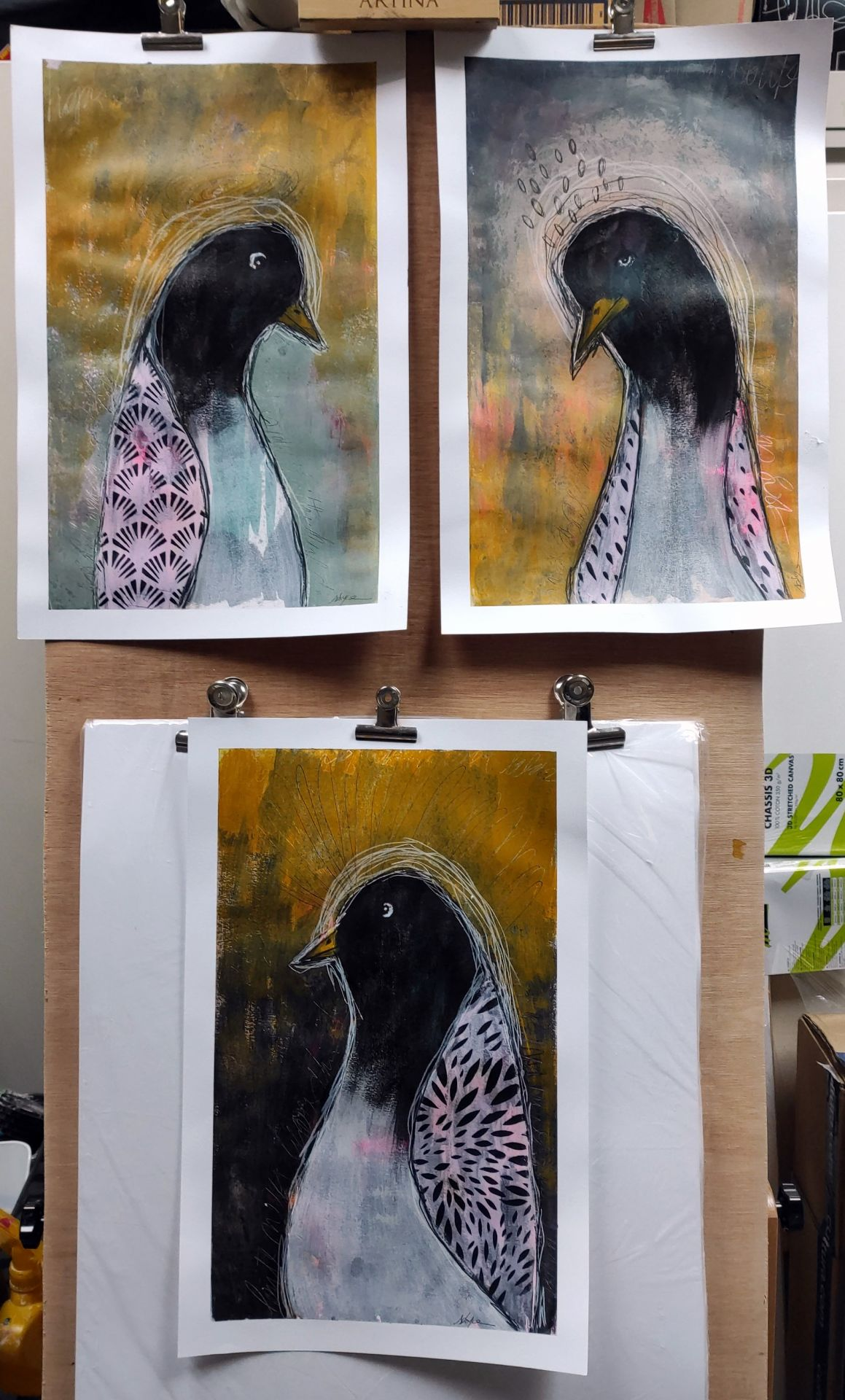 portrait d'animaux, pingouins, acrylique, art intuitif
