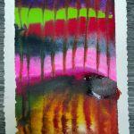 encre acrylique fond humides - lignes à la pipette