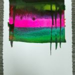 encre acrylique fond sec, lignes au pinceau