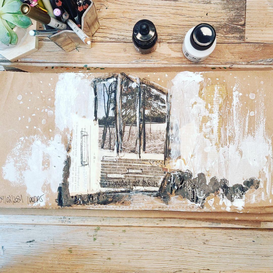 100 day project, processus créatif, noir, blanc, kraft, collage