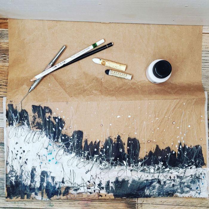 100 day project, processus créatif, noir, blanc, kraft