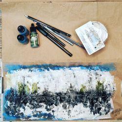 100 day project, processus créatif, noir, blanc, kraft, bleu, vert