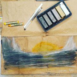 100 day project, processus créatif, noir, blanc, kraft, jaune