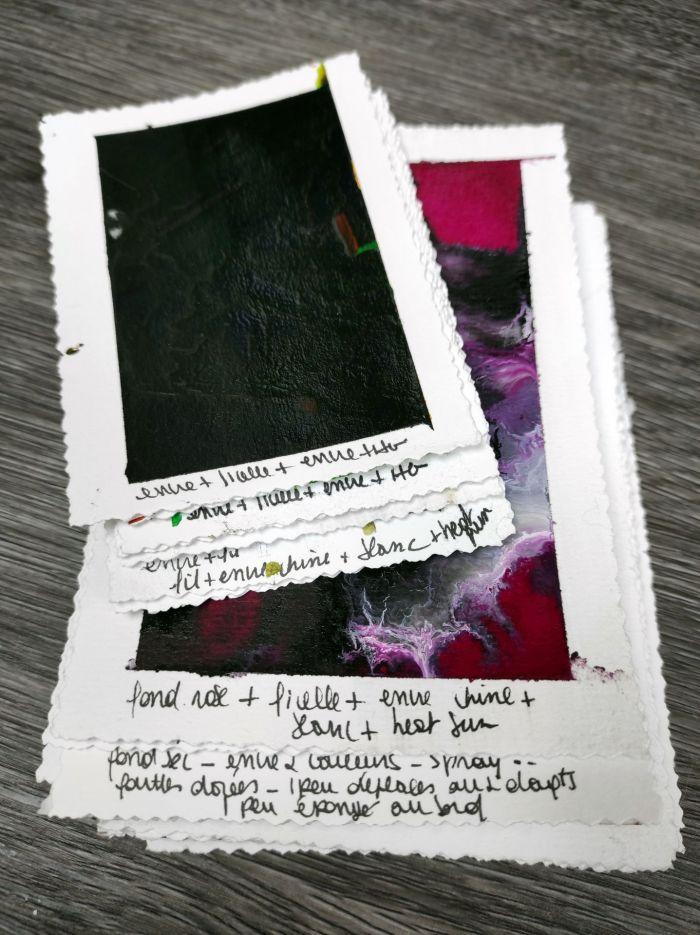 encre acrylique, documenter les expérimentations